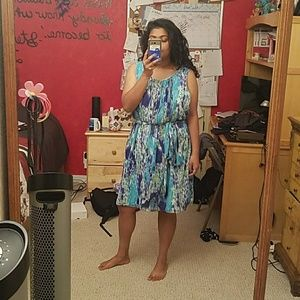 Formal Blue and Green Patterned Dress